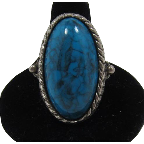 Frankly Fake Native American Style Imitation Turquoise Ring - Adjustable