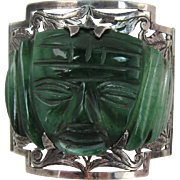 Mexican Sterling Silver Hand-Crafted Bracelet with Huge Mayan or Incan Green Onyx Face