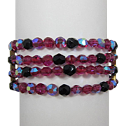 Fuchsia Pink AB and Black Bead Four Strand Memory Wire Bracelet