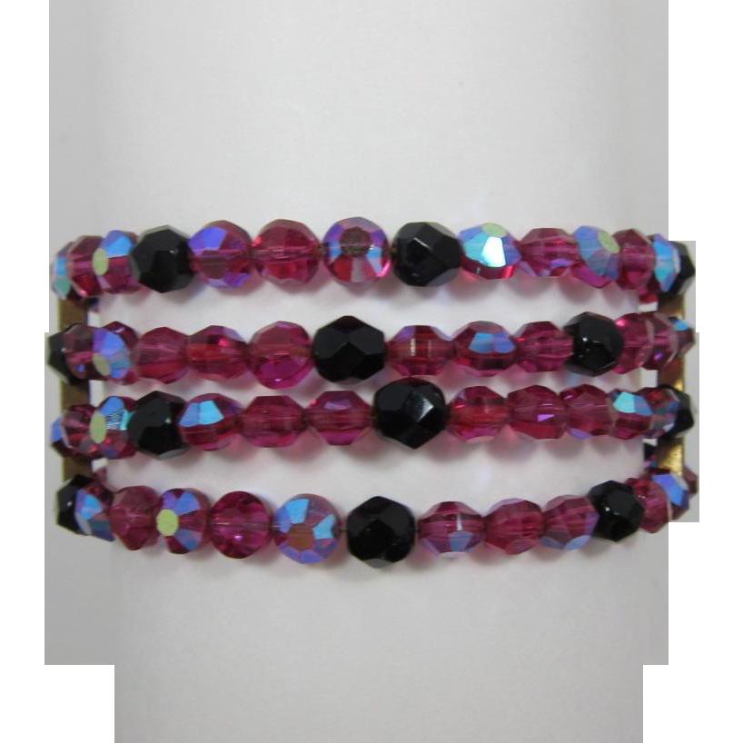 Fuchsia Pink AB and Black Bead Four Strand Memory Wire Bracelet