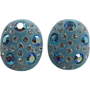 Fabulous Kramer Aqua Thermoplastic Earrings with Blue AB Rhinestones