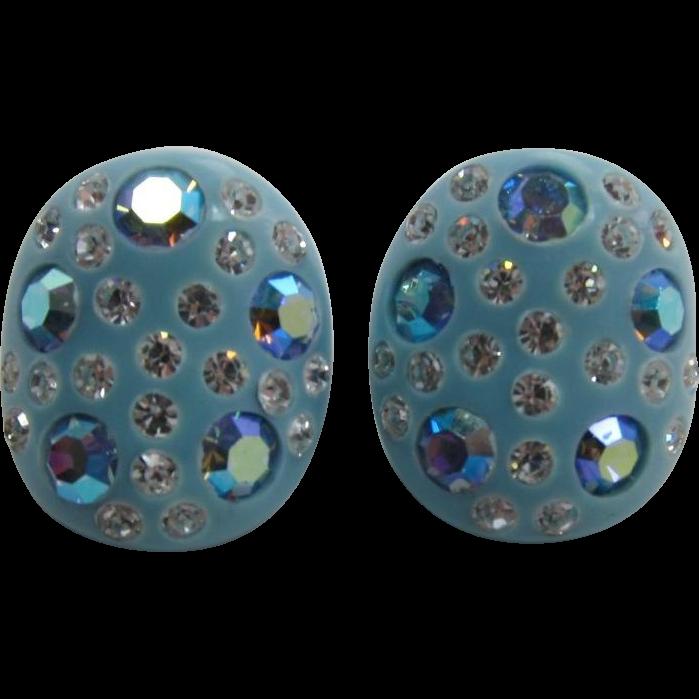 Fabulous Kramer Aqua Thermoplastic Earrings with Blue AB Rhinestones