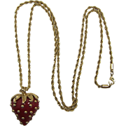 Red Strawberry Pendant Necklace