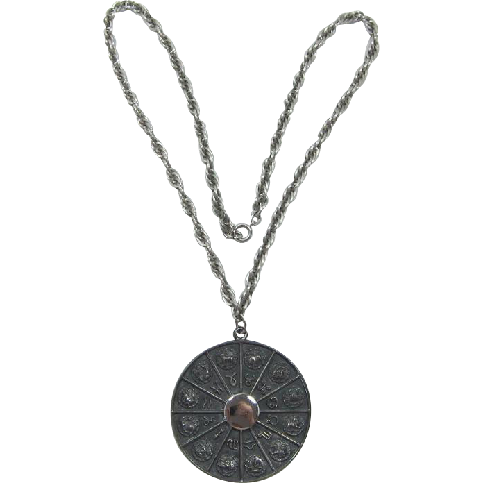 Napier Medallion Necklace of 12 Zodiac Signs