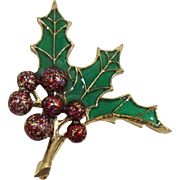 "1928 Jewelry Company ""Stained Glass"" Holly and Berries Christmas Pin"