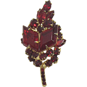 DeLizza and Elster aka Juliana Red Kite Rhinestone Two-Tiered Brooch