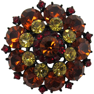 Japanned Tiered Brooch with Large Madeira Topaz Rhinestones - Wowza!