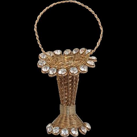 Pretty Woven Flower Basket Brooch - Old