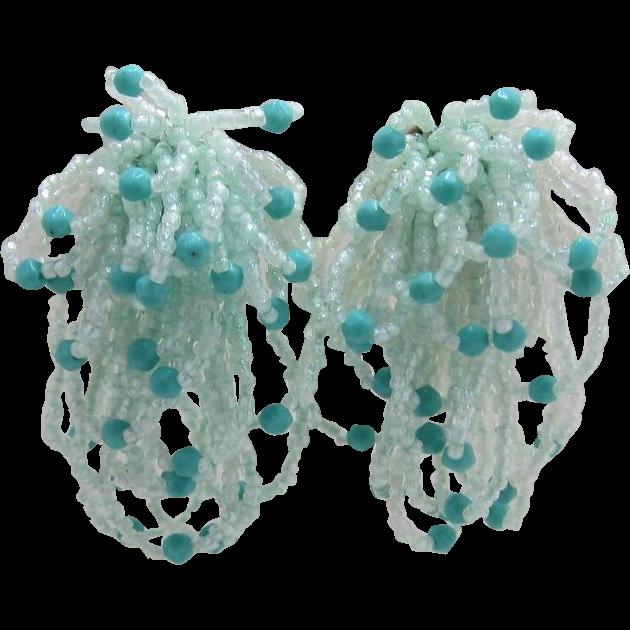 Mint Green & Aquamarine Beaded Dangling Earrings