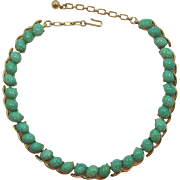 Trifari Green Speckled and Swirled Cabochon Link Necklace