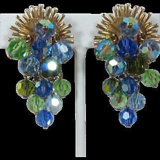 Dangling Blue and Green Crystal Waterfall Earrings