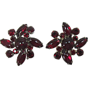 DeLizza and Elster aka Juliana Deep Ruby Red Cabochon Earrings