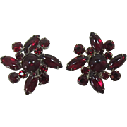 DeLizza and Elster aka Juliana Deep Ruby Red Cabochon Earrings - Christmas