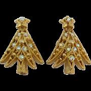 Hollycraft Aurora Borealis Rhinestone Christmas Tree Earrings