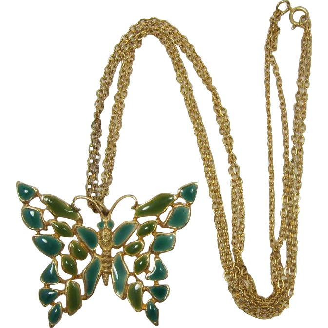 Teal Blue and Green Mosaic-Look Enameled Butterfly Pendant Necklace