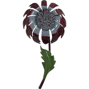 Grey and Deep Cranberry Fall Colors Enameled Flower Pin - Unusual Colors