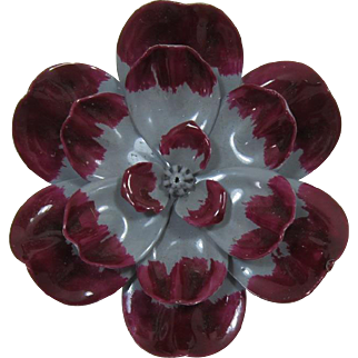 Grey and Deep Cranberry Fall Colors Enameled Flower Pin