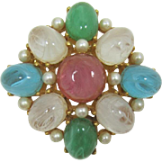 Phenomenal Cadoro Brooch with Large Swirled Cabochons - Green, Pink, Aquamarine, Clear