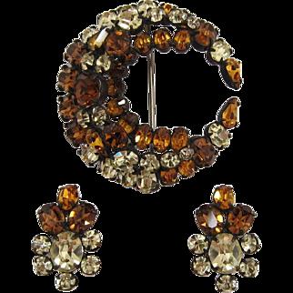 Smoky Topaz, Yellow and Topaz Rhinestone Pin and Earring Set