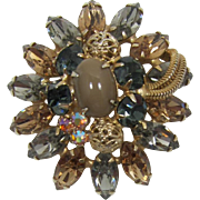 "Alice Caviness ""Black Diamond"" and Colorado Topaz Rhinestone Brooch"