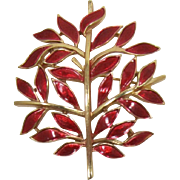 Trifari Blazing Red Enameled Leafy Brooch