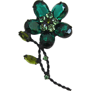 Large Black Japanned Flower Pin with Emerald-Green Stones
