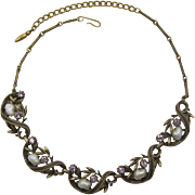 Coro Antique Gold-tone Necklace with Baby Tooth Imitation Pearls and Lavender Rhinestones