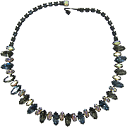 "Sparkling ""Black Diamond"" and Blue-Grey Navette Rhinestone Necklace"