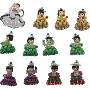 12 Darling Bead and Safety Pin Christmas Tree Ornaments - Handcrafted - Vintage