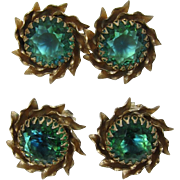 Blue-Green Faceted Glass Double Flower Brooch and Earrings Set