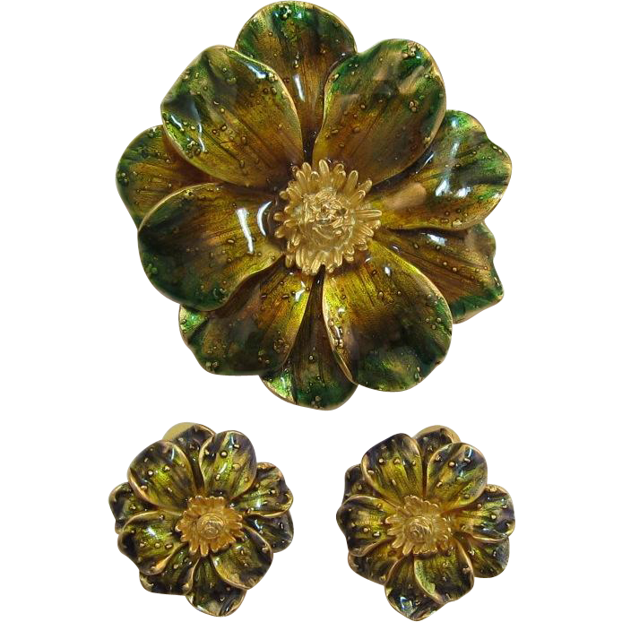 Erwin Pearl Enameled Flower Pin and Earring Set