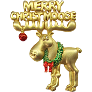 "J.J. Jonette Jewelry ""Merry Christmoose"" Pin"