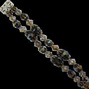 Beautiful Double Strand Bracelet with Smoky Topaz and Topaz AB Beads