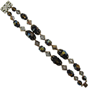 Double Strand Bracelet with Smoky Topaz and Topaz AB Beads