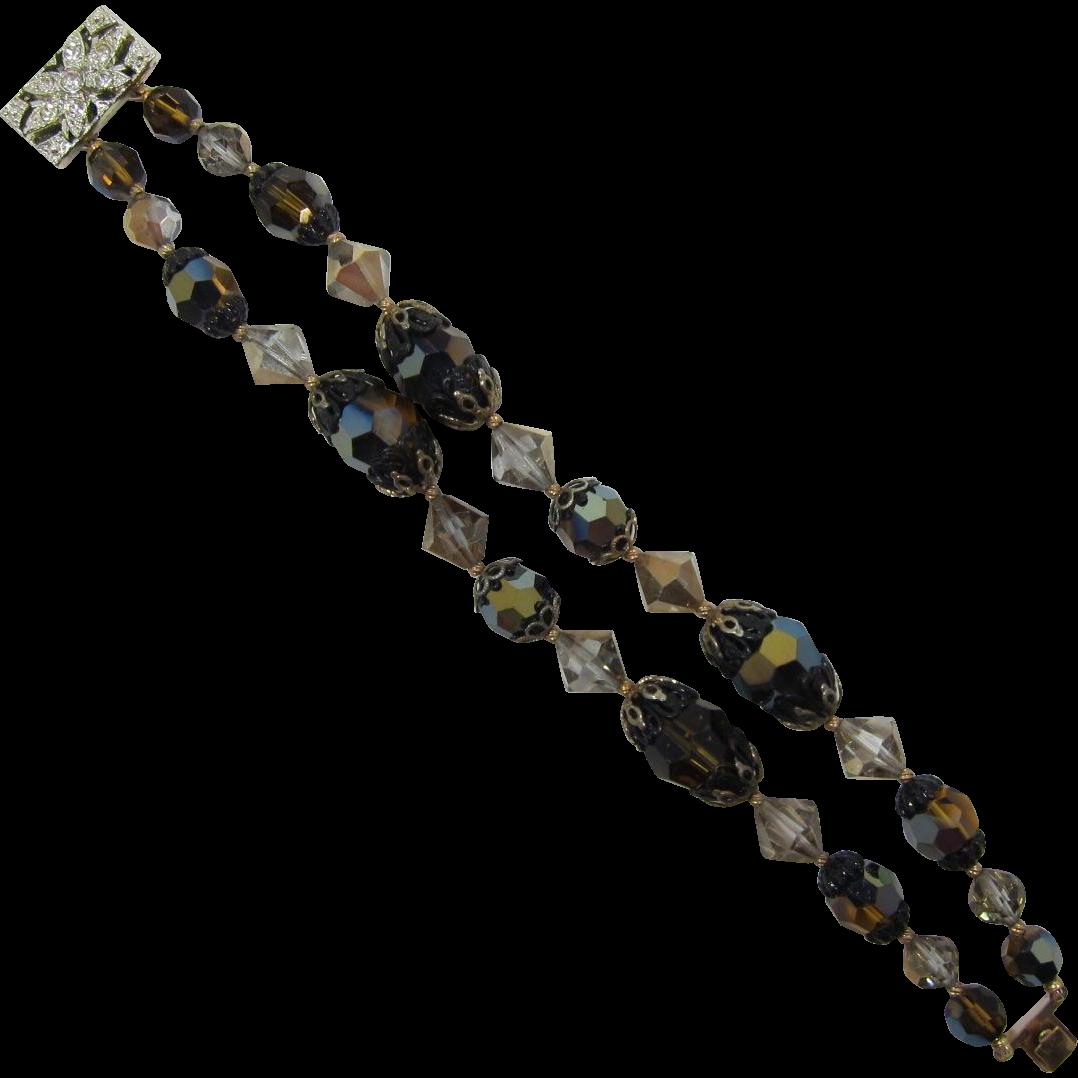 Double Strand Bracelet with Smoky Topaz and Topaz AB Beads