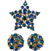 Sparking MJent Star Blue and Teal Rhinestone Star Pin and Earrings