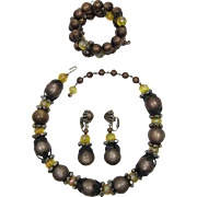 Fab Hobe' Deep Brown Moonglow and Yellow Iridescent Beaded Necklace, Bracelet, Earrings Set