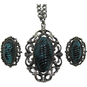 Large Teal and Black Ribbed Plastic Necklace and Earrings
