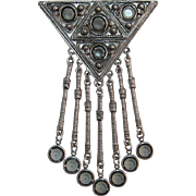 Goldette Long Dangling Brooch with Grey Rhinestones