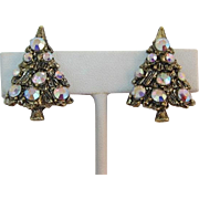 Sparkling Aurora Borealis Rhinestone Christmas Tree Earrings