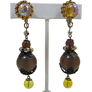 Fab Hobe' Deep Brown Moonglow and Iridescent Yellow Beaded Earrings