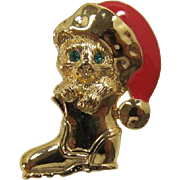"Avon Christmas ""Holiday Cat in Boot"" with a Santa Hat Tack Pin"