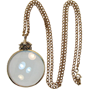 Beautiful Avon Gold-tone Magnifier Necklace with a Fabric Carry Pouch - NOS