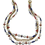 LAST CHANCE - Patriotic Red, White and Blue Beaded Necklace