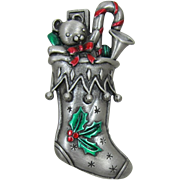 Festive J.J. Jonette Jewelry Christmas Stocking Pin with Red and Green Enameling