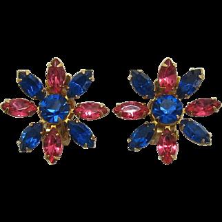 Pink and Capri Blue Sunburst or Flower Earrings