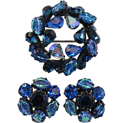 Regency Blue and Blue AB Leaf Brooch and Earring Set