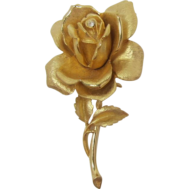 Florentined Gold-tone Rose Brooch with Clear Rhinestone
