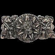 Signed Vintage Peruvian Art Brooch - Inca Sun God Pin