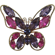 Large  Purple and Hot Pink Navetete Rhinestone Butterfly Brooch